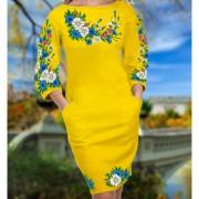 Заготовка для вишивки бісером чи нитками жіночого плаття на жовтому габардині