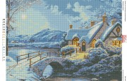 Схема вышивки бисером на габардине Зимовий пейзаж