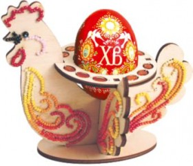 Набор-конструктор Пасхальная курица в красных тонах, , 103.00грн., F-061, Чарiвна мить (Чаривна мить), Пасхальная вышивка