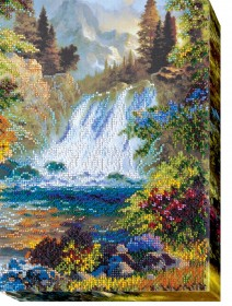 Набор для вышивки бисером на холсте Водопад