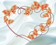 Схема для вышивки бисером на атласе Бабочки на белом 2