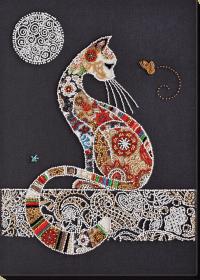 Набор для вышивки бисером Кошечка и мотылек  Абрис Арт АВ-794 - 473.00грн.