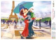 Схема вышивки бисером на атласе Поцелуй в Париже