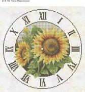 Схема для вышивки бисером на габардине Часы Подсолнухи