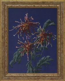 Схема вышивки бисером на ткани Хризантемы в саду