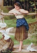 Набор для вышивки крестом Девушка дразнящая голубей