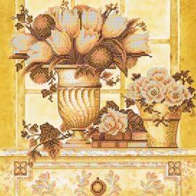 Схема вышивки бисером на холсте Палевые цветы