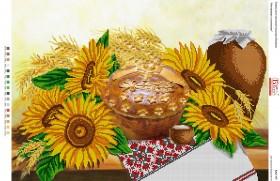 Схема для вышивки бисером на габардине Натюрморт з соняхами
