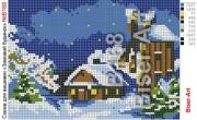 Схема вышивки бисером на габардине Зимовий будинок