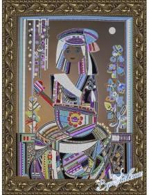 Схема для вышивки бисером на атласе Народные инструменты (по картине Д. Беридзе)