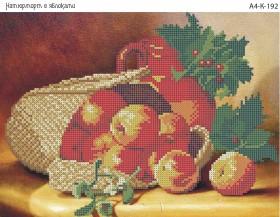 Схема для вышивки бисером на габардине Натюрморт с яблоками