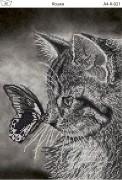 Схема для вышивки бисером на габардине Кошка