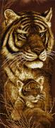 Схема для вышивки бисером на атласе Мамина любовь. Тигры
