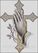 Схема вышивки бисером на габардине Молитва Иисуса