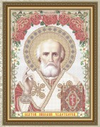 Схема вышивки бисером на габардине Св. Николай Чудотворец