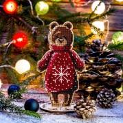 Набор для вышивки бисером по дереву Мишка в красном свитере