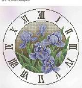 Схема для вышивки бисером на габардине Часы Синие Ирисы