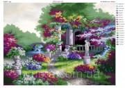 Схема вышивки бисером на атласе Райский сад