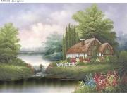 Схема для вышивки бисером на габардине Дом у реки