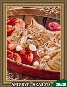 Рисунок на ткани для вышивки бисером Котята в корзинке