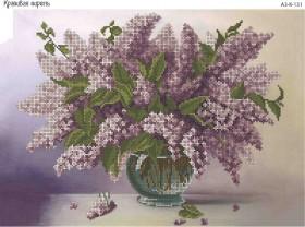 Схема для вышивки бисером на габардине Красивая сирень, , 70.00грн., А3-К-131, Acorns, Цветы