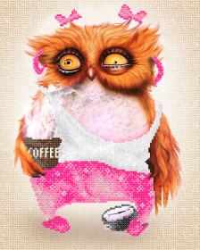 Схема вышивки бисером на атласе Кофе-леди