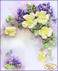 Набор для вышивки лентами Шиповник и фиалки Tela Artis (Тэла Артис) ЛТ-003 - 190.00грн.