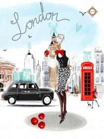 Схема вышивки бисером на атласе  Shopping in london, , 87.00грн., СЛ-3340, Миледи, Рисунки на ткани для вышивки бисером Веселые картинки