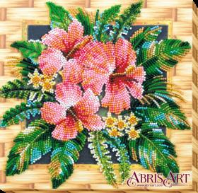 Набор-миди для вышивки бисером на натуральном художественном холсте Цветы Танзании