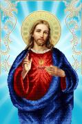 Схема для вышивки бисером на атласе Святое сердце Иисуса