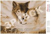 Схема вышивки бисером на атласе Волчья пара