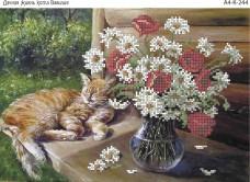 Схема для вышивки бисером на габардине Дачная жизнь кота Василия Acorns А4-К-244