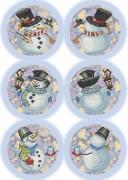 Схема для вышивки бисером на габардине Новогодние игрушки Снеговики