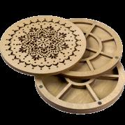 Органайзер для бисера многоярусный с деревянной крышкой FLZB-081