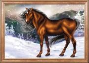 Схема для вышивки бисером на габардине Конь на снегу