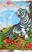 Схема вышивки бисером на габардине Білий тигр