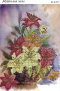 Схема для вышивки бисером на габардине Акварельные лилии
