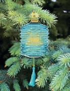 Набор для вышивки нитками Новогодняя игрушка Голубой фонарик