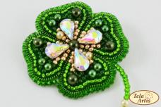Набор для вышивки броши на ВЕЛЮРЕ Клевер. Символ удачи Tela Artis (Тэла Артис) Б-003ТА