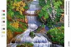 Рисунок на габардине для вышивки бисером Казковий водоспад Вишиванка А4-067