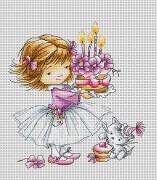 Набор для вышивки крестом Девочка с котенком и тортиком