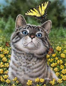 Набор для выкладки алмазной мозаикой Кот с бабочкой