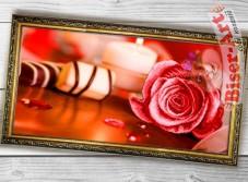 Схема вышивки бисером (нитками) на габардине Рожева троянда Biser-Art 37423