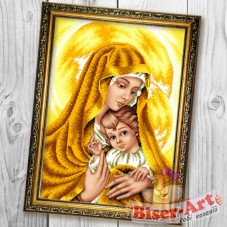 Схема вышивки бисером на габардине Мадонна з немовлям в золотих тонах Biser-Art 30х40-B602