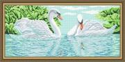 Схема вышивки бисером на габардине Лебеди