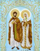 Рисунок на ткани для вышивки бисером Святые мученики Пётр и Февронья (серебро)