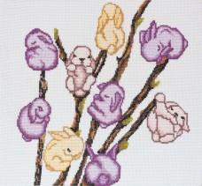 Набор для вышивки крестом Мартовские зайчики Абрис Арт АН-046