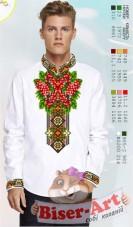 Заготовка мужской сорочки на белом льне Biser-Art Bis15114