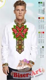 Заготовка мужской сорочки на белом льне Biser-Art Bis15114 - 435.00грн.