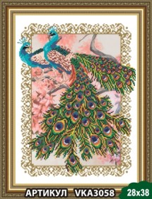 Рисунок на ткани для вышивки бисером Павлины, , 105.00грн., VKA3058, Art Solo, Наборы и схемы для вышивки бисером и нитками Восток
